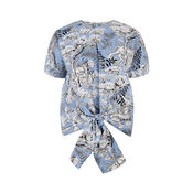 Warehouse, TIGER PRINT TIE FRONT TOP Blue Pattern 0