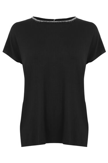 Warehouse, EMBELLISHED NECK TEE Black 0