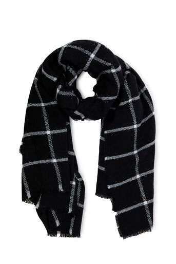 Warehouse, WINDOW PANE CHECKED SCARF Black 0