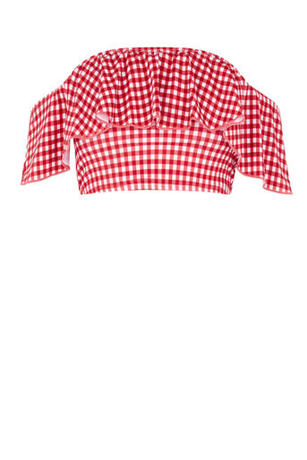 Warehouse, GINGHAM BARDOT BIKINI TOP Red Pattern 0