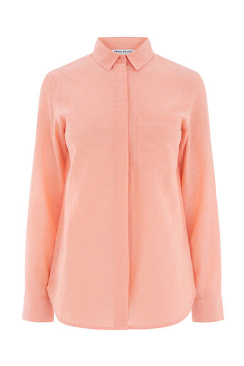 Warehouse, COTTON LINEN CASUAL SHIRT Peach 0