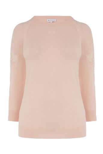 Warehouse, LACE INSERT JUMPER Light Pink 0