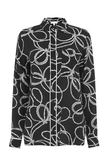 Warehouse, ROPE PRINT SHIRT Black 0