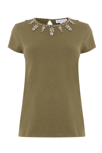 Warehouse, FLOWER EMBELLISHED KNITTED TOP Khaki 0