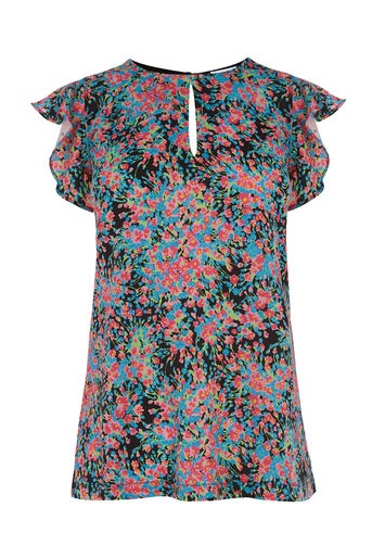 Warehouse, FLOWER BURST WOVEN FRONT TOP Multi 0