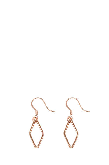 Warehouse, GEO DIAMOND EARRINGS Copper Colour 0