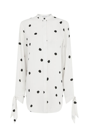 Warehouse, DOTTY SPOT TIE WAIST BLOUSE Neutral  Print 0