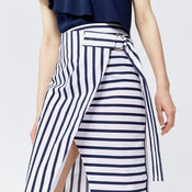 Warehouse, STRIPE WRAP MIDI SKIRT Blue Stripe 4