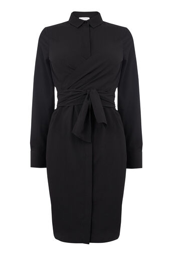 Warehouse, WRAP FRONT SHIRT DRESS Black 0