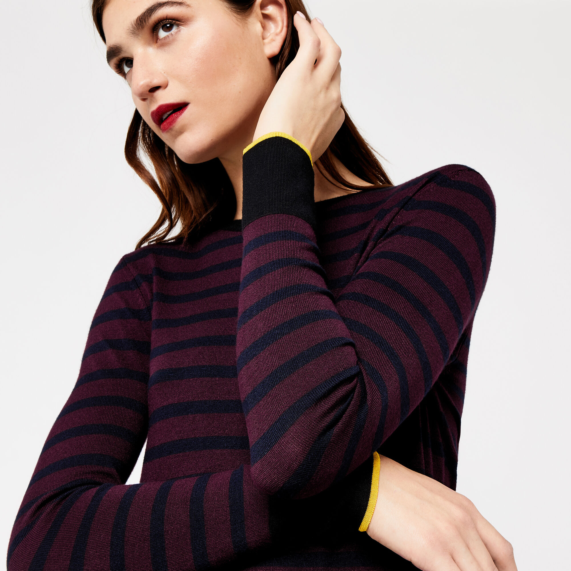 Warehouse, BRETON BLOCK STRIPE JUMPER Berry 1