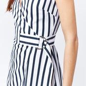 Warehouse, STRIPE WRAP DRESS Blue Stripe 4