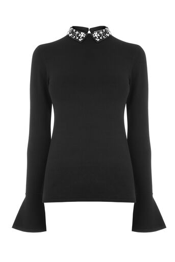 Warehouse, STAR EMBELLISHED COLLAR JUMPER Black 0