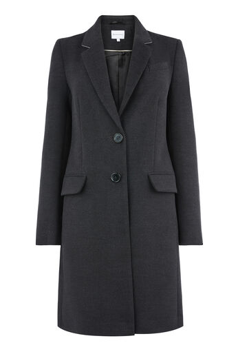 Warehouse, SINGLE BREASTED CROMBIE COAT Dark Grey 0