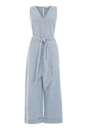 Warehouse, LINEN MIX STRIPE JUMPSUIT Blue Stripe 0