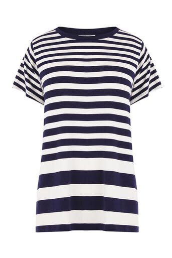 Warehouse, STRIPE PANEL CUTABOUT TEE Navy 0
