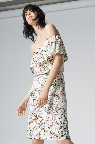 Warehouse, TRAILING FLORAL BARDOT DRESS Multi 0