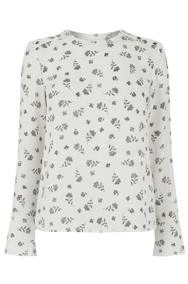 Warehouse, DOTTY FLORAL FLUTED SLEEVE TOP Neutral  Print 0