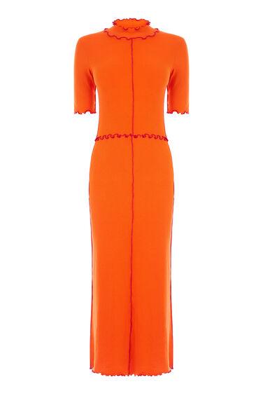 Warehouse, MINI RIB FRILL DRESS Bright Red 0