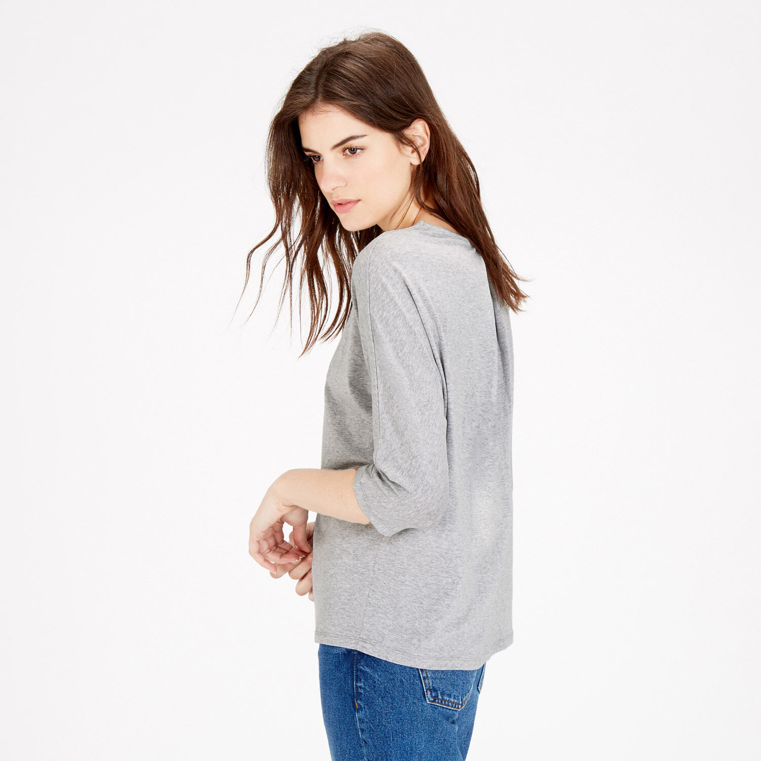 Warehouse, PLEAT BACK DETAIL TOP Light Grey 1