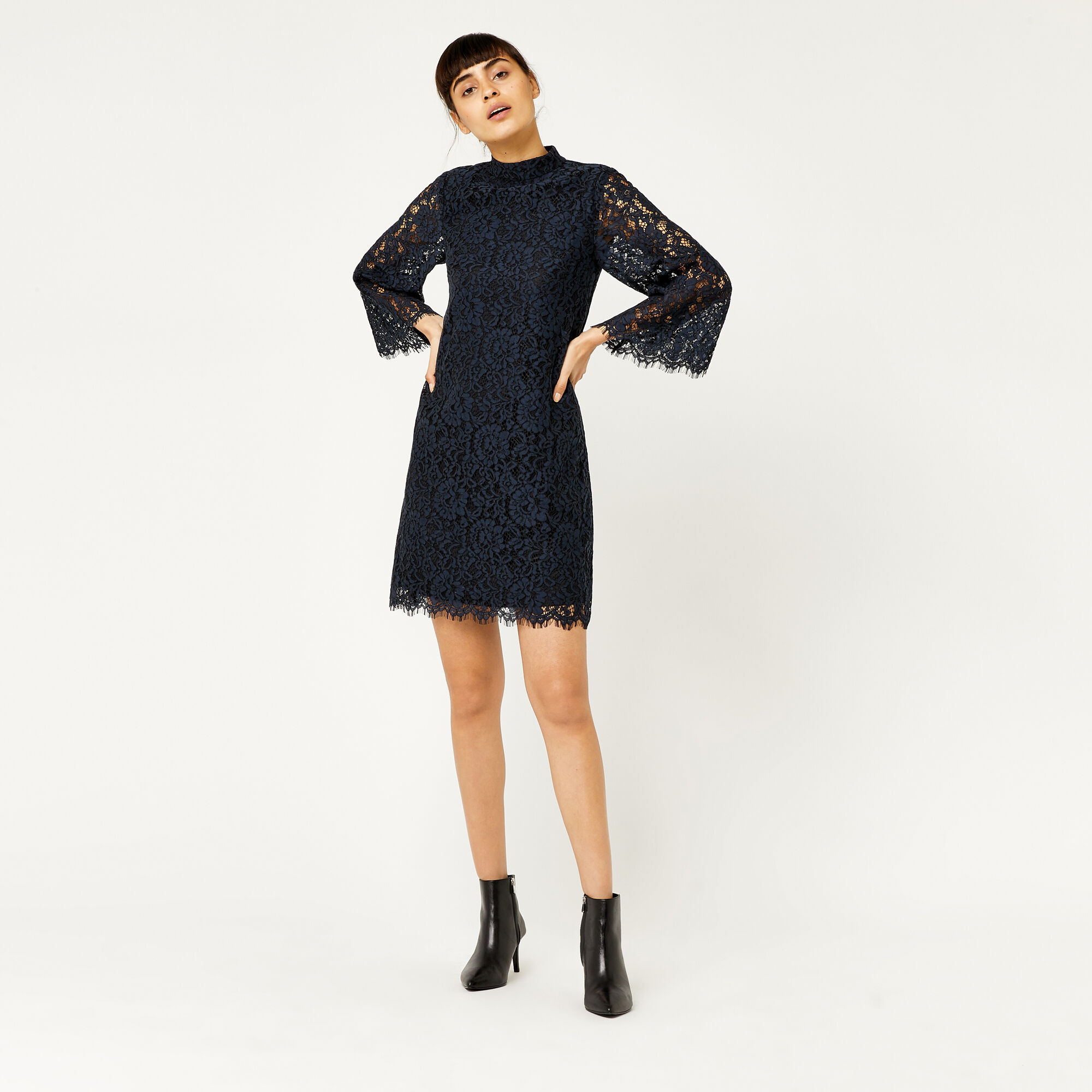 Warehouse, TWO TONE LACE DRESS Navy 1