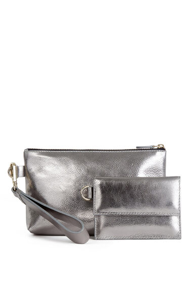 Warehouse, Leather Wrist Purse Set Pewter 1