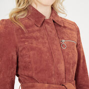 Warehouse, Suede Belted Jacket Dark Red 4