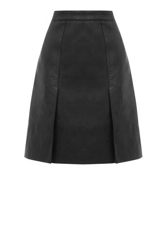 Warehouse, Faux Leather Knee Length Skirt Black 0