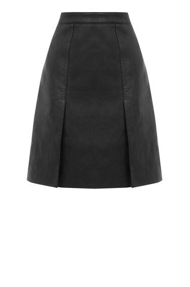 Warehouse, Faux Leather Knee Length Skirt Black 0
