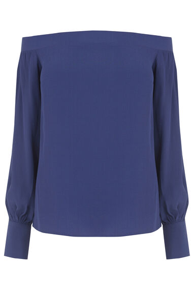 Warehouse, OFF SHOULDER TOP Bright Blue 0