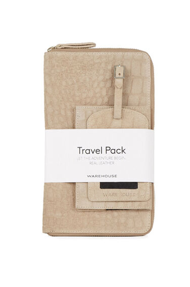 Warehouse, Suede Travel Pack Beige 0