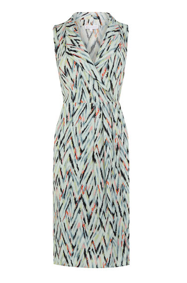 Warehouse, ZIG ZAG WRAP DRESS Green Print 0
