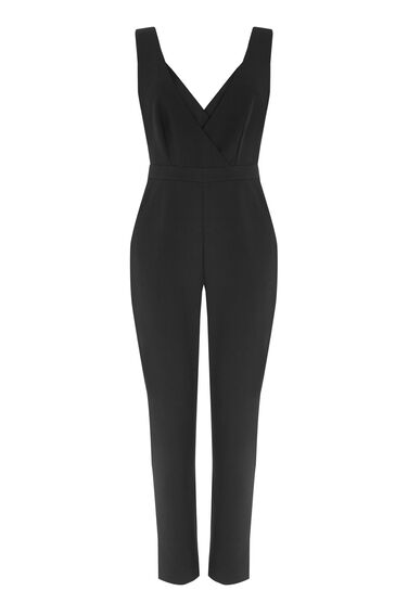 Warehouse, CROSS FRONT JUMPSUIT Black 0