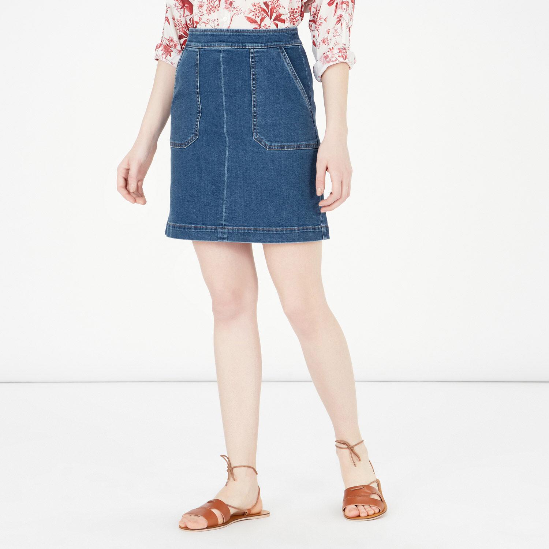 Warehouse, Pocket Detail Denim Skirt Light Wash Denim 1