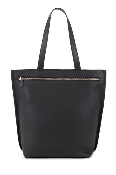 Warehouse, Leather Zip Tote BAG Black 0