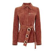 Warehouse, Suede Belted Jacket Dark Red 0