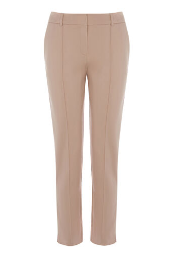 Warehouse, COMPACT COTTON TROUSERS Light Pink 0