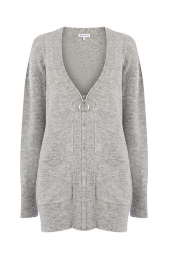 Warehouse, COSY ZIP FRONT CARDI Light Grey 0