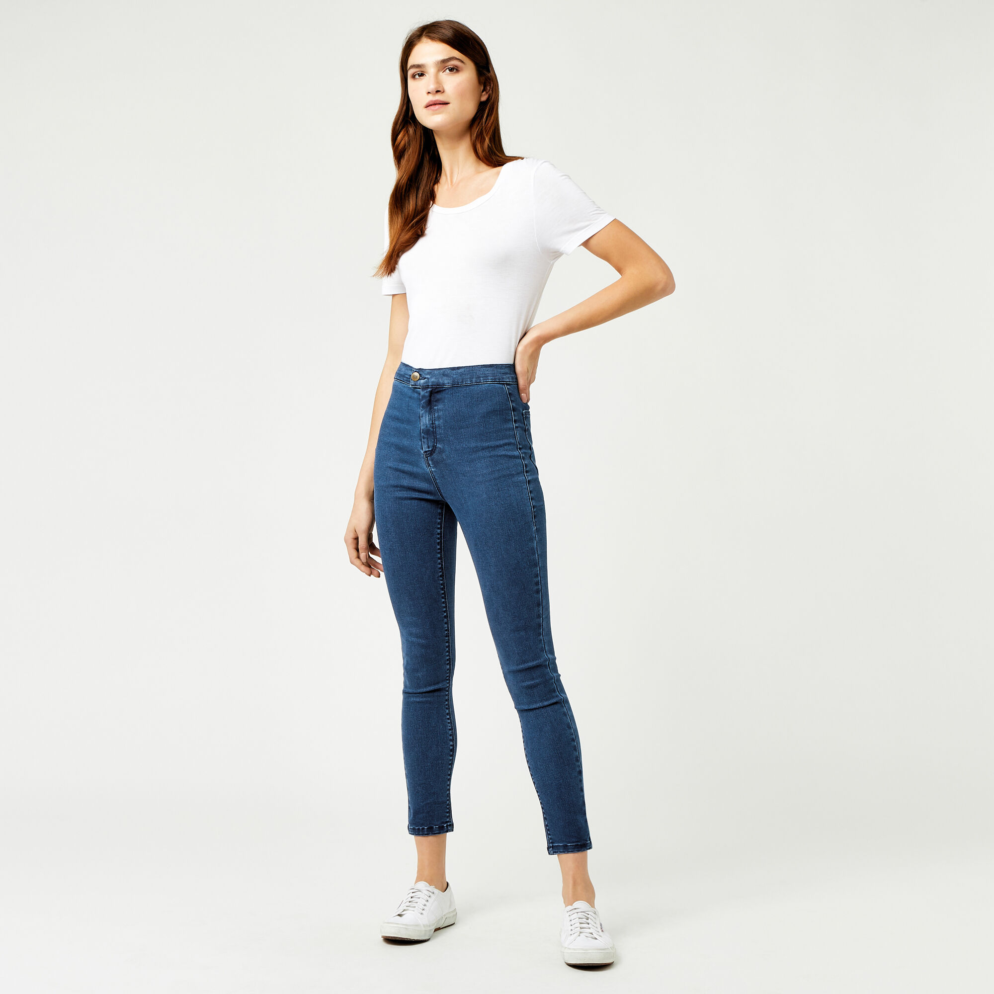 Warehouse, CLEAN HIGH RISE SKINNY Indigo 1