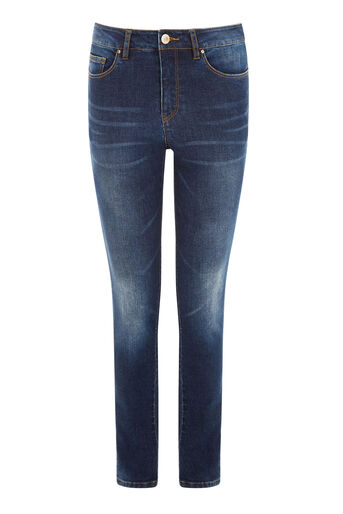 Warehouse, POWERHOLD SKINNY CUT JEANS Dark Wash Denim 0