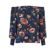 Warehouse, PAINTED FLORAL BARDOT TOP Blue Pattern 0