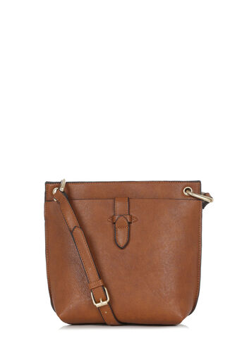 Warehouse, DOUBLE TAB CROSSBODY BAG Tan 0