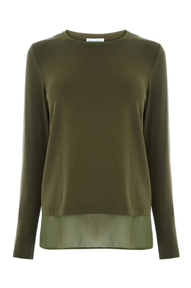 Warehouse, WOVEN MIX WRAP BACK TOP Khaki 0
