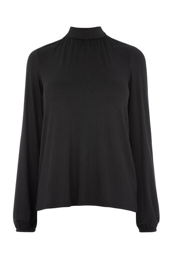 Warehouse, POLO TIE BACK LONG SLEEVE TOP Black 0