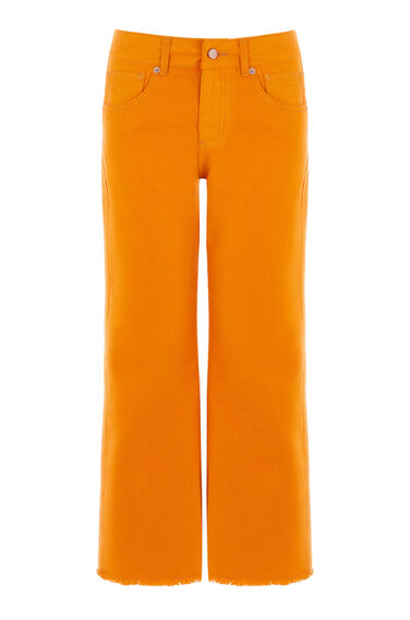 Warehouse, Cropped Flare Jeans Orange 0