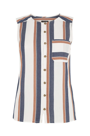 Warehouse, Stripe Sleeveless Shirt Neutral Stripe 0