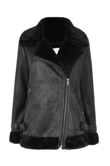 Warehouse, Oversized Faux Fur BikerJacket Black 0