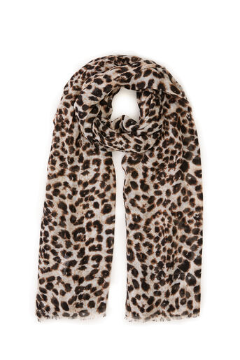 Warehouse, LEOPARD PRINT SCARF Brown Print 0