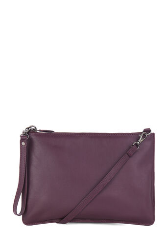 Warehouse, LEATHER TOP ZIP CROSSBODY Berry 0