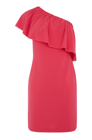 Warehouse, ONE SHOULDER CREPE FRILL DRESS Bright Pink 0