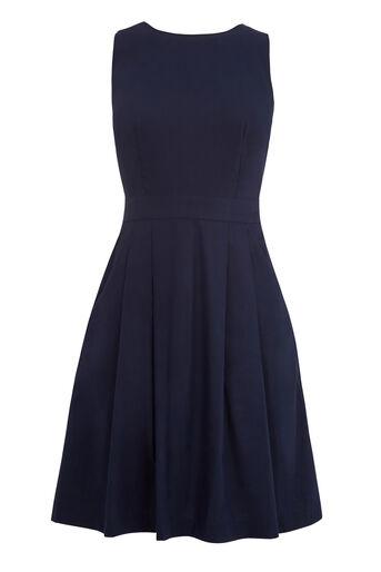 Warehouse, Katoenen jurk met gekruist rugpand Marineblauw 0